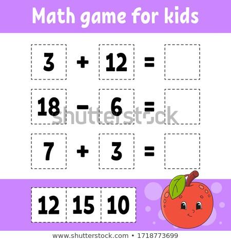 Matematika számítás oktatási játék gyerekek rajz Stock fotó © izakowski