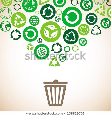 Limpar planeta desperdiçar reciclagem colorido bandeira Foto stock © robuart