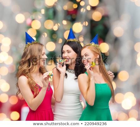 Gelukkig vrienden partij lichten viering leuk Stockfoto © dolgachov