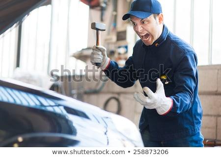 怒っ メカニック 車 エンジン 男 技術 ストックフォト © Minervastock