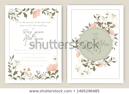 leaves print beautiful wedding card design Stock photo © SArts