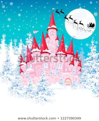 pink castle on the background of the winter forest stock photo © liolle