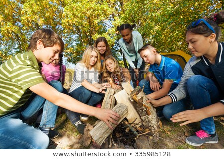 International scout camping in forest Stock photo © bluering