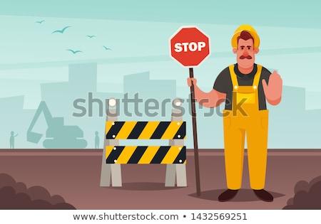 ストックフォト: 漫画 · 道路 · ワーカー · 一時停止の標識 · 実例 · 作業