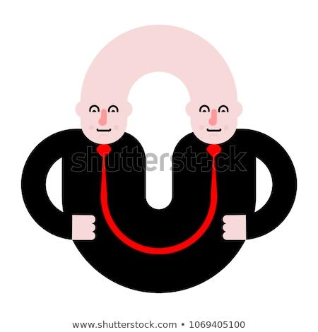 双子 孤立した 人 芸術 ヴィンテージ 漫画 ストックフォト © MaryValery