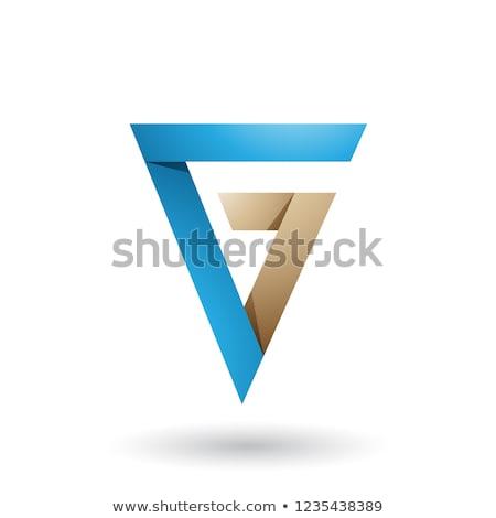 Kék bézs összehajtva háromszög g betű vektor Stock fotó © cidepix