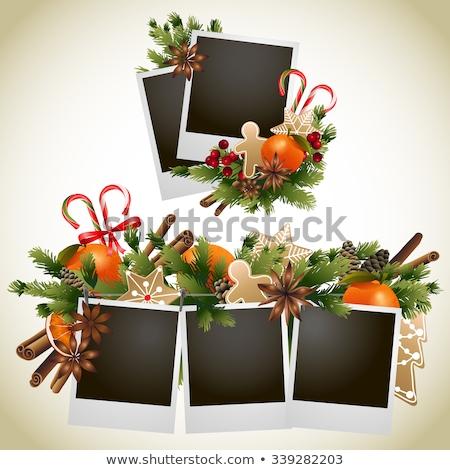 Noel fotoğraf kareler zencefilli çörek kurabiye ahşap Stok fotoğraf © karandaev