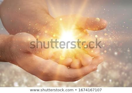 bênção · buda · feliz · risonho · estatueta · mão - foto stock © koratmember