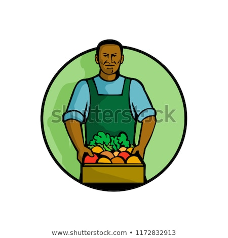 African American Green Grocer Greengrocer Mascot Stock photo © patrimonio