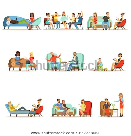 Psicoterapia pessoas falando problemas conjunto médico vetor Foto stock © robuart