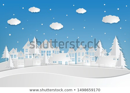 Merry Christmas, Old Town Paper Cuts, City View Stock photo © robuart