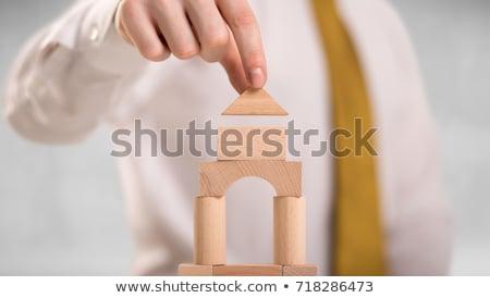 biznesmen · bloków · sukces · podpisania · działalności - zdjęcia stock © ra2studio