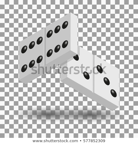 Stock photo: 3D items to play dominoes, vector illustration.