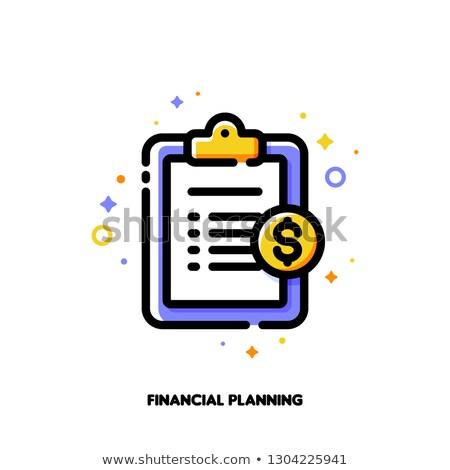 Ikon vágólap arany dollár érme pénzügyi tervezés Stock fotó © ussr