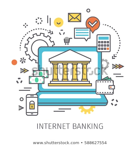Online banking - modern line design style web banner Stock photo © Decorwithme