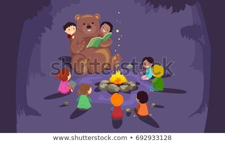 дети · лагерь · костер · иллюстрация · кемпинга · вокруг - Сток-фото © lenm