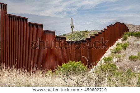 Stock fotó: USA · Mexikó · keret · fal · amerikai · biztonság