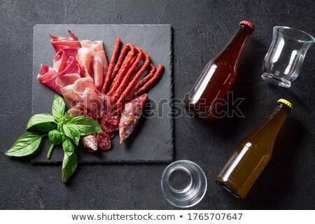 hús · kolbászok · akasztás · fekete · fából · készült · étel - stock fotó © alex9500