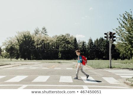 School children crossing street in city Stock photo © colematt