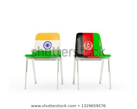 Deux chaises drapeaux Inde Afghanistan isolé Photo stock © MikhailMishchenko