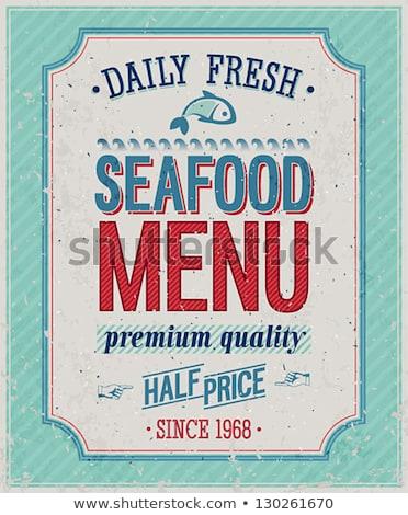 Frutti di mare menu minuscolo uomini d'affari lettura mare Foto d'archivio © RAStudio