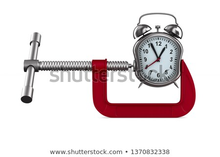 clamp and watch on white background isolated 3d illustration stock photo © iserg