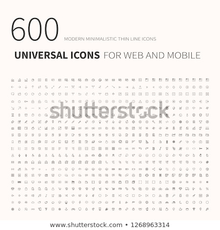 600 simple outline flat icons. Set of universal icons for website and mobile. Flat vector illustrati Stock photo © makyzz