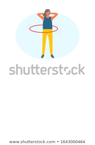 Woman Rotates Hulahup, Fitness Exercise and Sport Stock photo © robuart