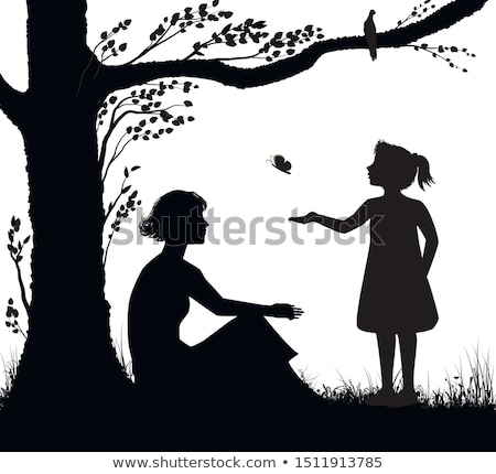 mother and daughter on lawn catching butterflies stock photo © robuart