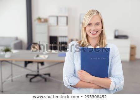 üzletasszony · iroda · néz · személyes · szervező · mosolyog - stock fotó © nyul