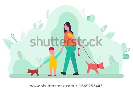 vrouw · lopen · kind · cute · huisdier · hond - stockfoto © robuart