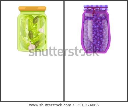 Préservé alimentaire affiches myrtille concombre ail Photo stock © robuart