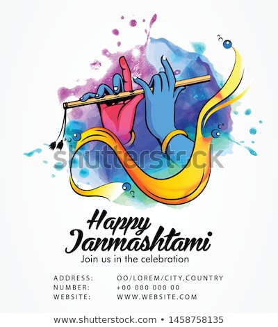 happy janmashtami background with matki and makhan Stock photo © SArts