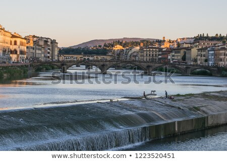 dam across the arno river florence italy stock photo © borisb17