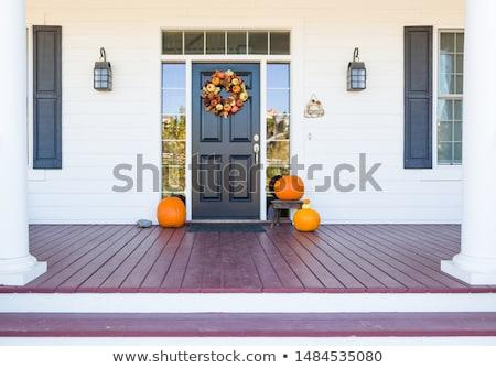 Spadek przednie drzwi front kroki otwarte pozostawia Zdjęcia stock © jsnover