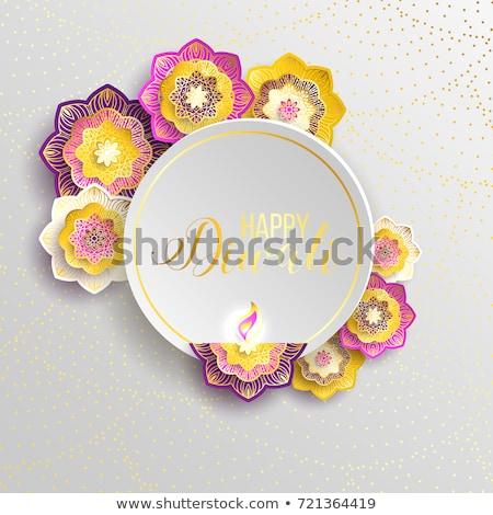 Diwali dourado lâmpadas roxo festival bandeira Foto stock © SArts