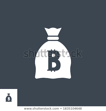 Money Bag with Bitcoin related vector glyph icon. Stock photo © smoki