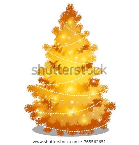Arany karácsonyfa gyöngyök pezsgő izolált fehér Stock fotó © Lady-Luck