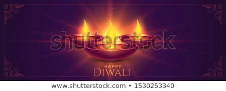 glowing happy diwali diya lamps wide banner Stock photo © SArts