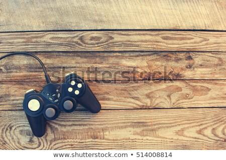 Jouet jeu joystick noir jouets en bois bois Photo stock © galitskaya