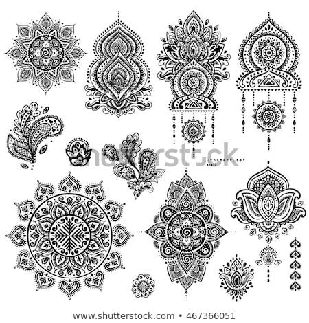 Indiai virág ikonok kisebbségi minta virágok Stock fotó © anbuch