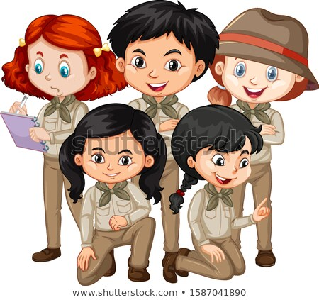 Five children in safari outfit standing Stock photo © bluering