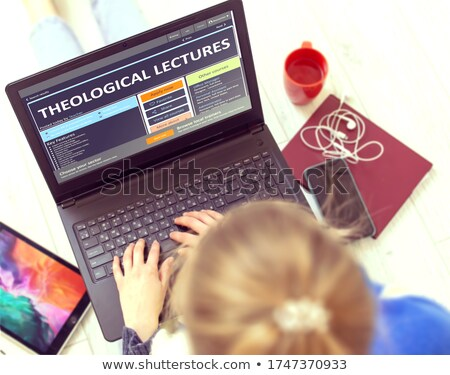 Personal Growth Concept Online Bible Study On Laptop 3d Foto stock © Tashatuvango