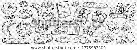 Bakery Products Baguette and Rye Bread with Cakes Stock photo © robuart