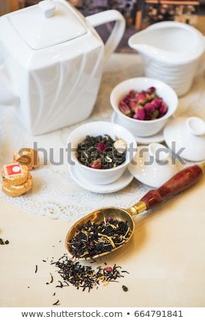 çay ayarlamak tablo gıda yaprak içmek Stok fotoğraf © olira
