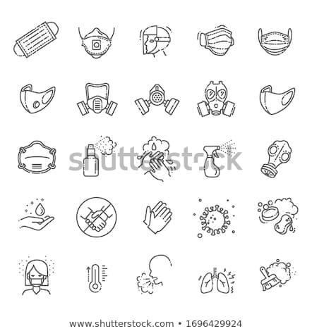 Gasmasker vector dun lijn icon geïsoleerd Stockfoto © smoki