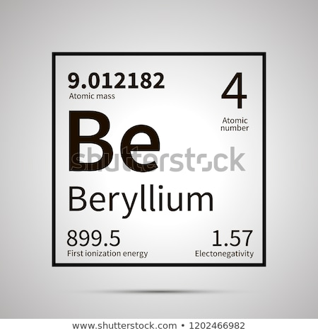 Beryllium chemical element with first ionization energy, atomic mass and electronegativity values ,s Stock photo © evgeny89