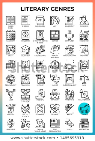 Literary genres - line design style icons set Stock photo © Decorwithme