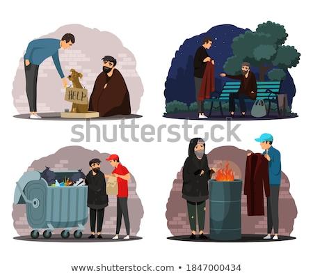 Vector ingesteld bedelaar man daklozen tekening Stockfoto © olllikeballoon