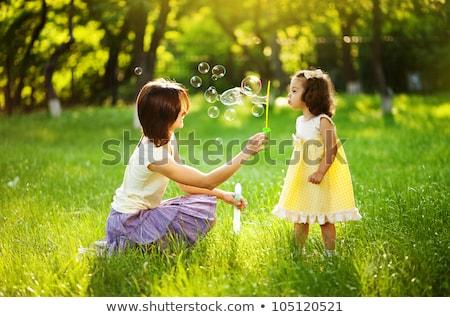 Stockfoto: Kinderen · zeepbellen · outdoor · bos · mode